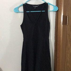 Express | Black Cross Deep V Skater Dress